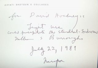 WILLIAM S. BURROUGHS: L'ARTE NAGUAL (NAGUAL ART) - INSCRIBED BY BURROUGHS TO DAVID HOCKNEY....