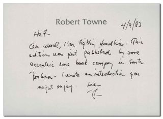 """""""CHINATOWN"""" A SCREENPLAY - INSCRIBED TO HUGH HEFNER"""