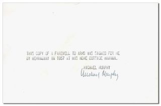 A FAREWELL TO ARMS - INSCRIBED TO MICHAEL MURPHY