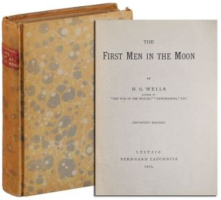 THE FIRST MEN IN THE MOON - WILLIAM SAFIRE'S COPY, SIGNED BY NEIL ARMSTRONG. H. G. Wells
