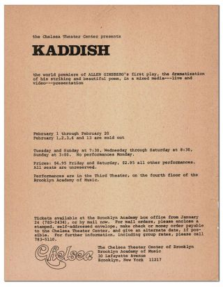 BROADSIDE: THE CHELSEA THEATER CENTER PRESENTS KADDISH, THE WORLD PREMIERE OF ALLEN GINSBERG'S...