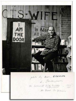 ORIGINAL PHOTOGRAPH OF LAWRENCE FERLINGHETTI IN THE BASEMENT OF CITY LIGHTS BOOKSTORE