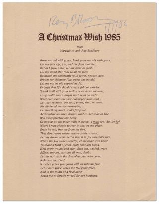 A CHRISTMAS WISH 1985 FROM MARGUERITE AND RAY BRADBURY - SIGNED. Ray Bradbury