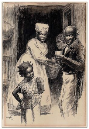 """HARVESTING AMONG THE KITCHENS"" - ORIGINAL ILLUSTRATION FROM PUDD'NHEAD WILSON"