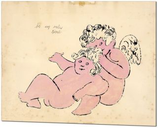 "ORIGINAL BLOTTED LINE CHERUB DRAWING - ""BE MY VALENTIME"""