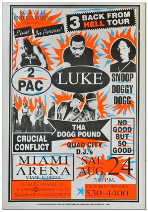POSTER: ROCKVILLE ENTERTAINMENT PRESENTS - LIVE! IN PERSON! 3 BACK FROM HELL TOUR - 2PAC, LUKE,...