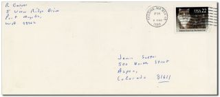 AUTOGRAPH LETTER, SIGNED, TO JAMES SALTER (MARCH 6, 1988)