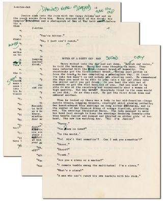 "HEAVILY-CORRECTED TYPESCRIPT FOR A ""NOTES OF A DIRTY OLD MAN"" STORY. Charles Bukowski"