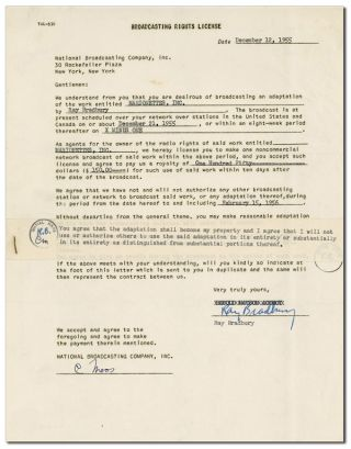 BROADCASTING CONTRACT FOR MARIONETTES, INC. [SIGNED]. Ray Bradbury