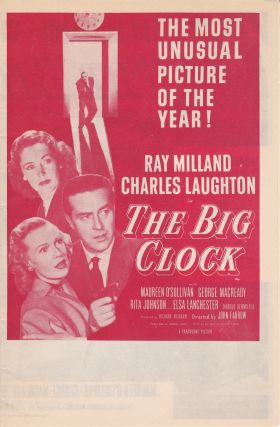 "ORIGINAL HERALD FOR THE 1948 FILM NOIR ""THE BIG CLOCK"" Kenneth Fearing, John Farrow, novel, director"