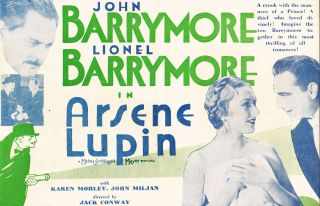 "ORIGINAL HERALD FOR THE 1932 FILM ""ARSENE LUPIN"" Maurice LeBlanc, Jack Conway, novels, director"