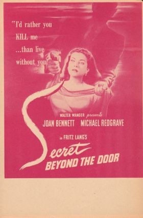 "ORIGINAL HERALD FOR THE 1948 FILM NOIR ""SECRET BEYOND THE DOOR"" Fritz Lang, Rufus King, director,..."