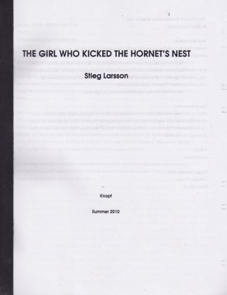 THE GIRL WHO KICKED THE HORNET'S NEST - TAPEBOUND MANUSCRIPT. Stieg Larsson