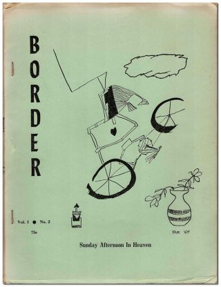 BORDER - VOL. 1, NO. 2 (APRIL, 1965). poem, cover art, Charles Bukowski, Wayne Philpot