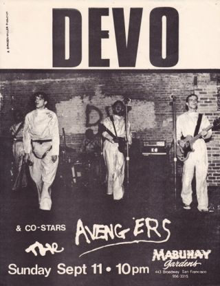 ORIGINAL SHOW FLYER FOR DEVO & THE AVENGERS AT MABUHAY GARDENS. DEVO, The Avengers